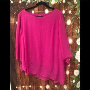 Chico's hot pink asymmetrical blouse size 3
